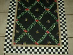 FLOORCLOTH  BUMBLE BEES  hand painted rug by countryfloorcloths, $100.00