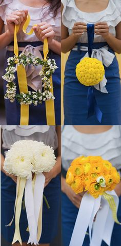 Blue and yellow bridesmaid bouquets
