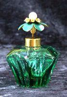 Vintage Irice Perfume Glass Bottle Import Flower Top Atomizer Green Label Japan