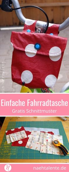 Einfache Fahrradtasche für Kinder nähen Sew a simple bicycle bag yourself. The handlebar bag with oilcloth and Kam-Snaps is a lightweight project for beginners. Diy Sewing Projects, Sewing Projects For Beginners, Sewing Hacks, Sewing Tips, Sewing Tutorials, Handmade Clothes, Handmade Bags, Diy Clothes, Bicycle Bag