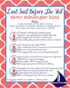 Bachelorette party scavenger hunt #nautical #bachelorette #party