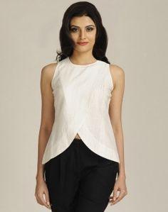 Cotton Khadi Gudri Overlap Top