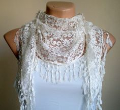 Lace Ivory Bridal Scarf Cowl with Lace Edge by fizzaccessory, $15.00