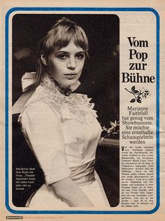 "faithfullforever: ""Article in German teen magazine ""Bravo"" about Marianne Faithfull starring in an adaption of ""Three Sisters"" in London 
