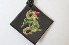 Leather Dragon Pendant Necklace by KCDLeatherworks on Etsy