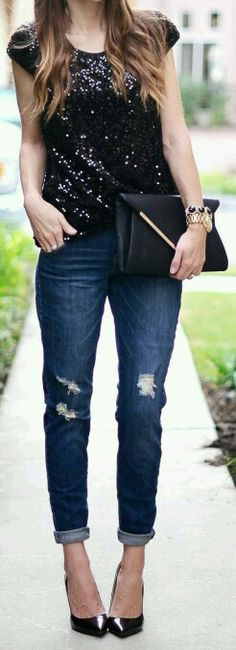 Sequined top, boyfriend jeans and heels