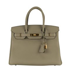 Hermes Grey Sauge Taurillion Clemence Birkin 30 with Gold Hardware $17,824