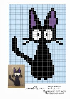 Crochet Cat Graph Hama Beads Ideas For 2019 Beaded Cross Stitch, Cross Stitch Embroidery, Cross Stitch Patterns, Hama Beads Patterns, Beading Patterns, Art Patterns, Perler Bead Art, Perler Beads, Crochet Pixel