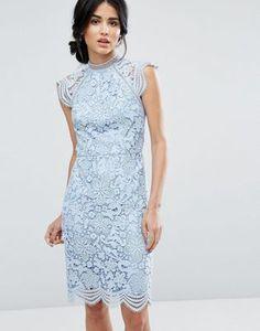 Chi Chi London Scallop Lace Pencil Dress