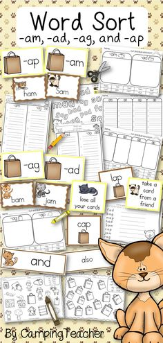 Word sort -am, -ad, -ag, and -ap 1st grade Harcourt Trophies Story Sam and the Bag