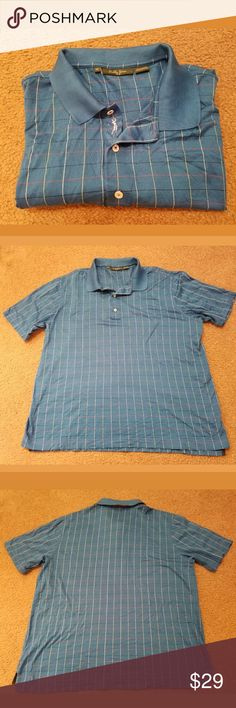 Bobby Jones Men's Golf Polo Size XL This is a really great pre-owned Bobby Jones Men's Polo Shirt Size XL. It is in excellent pre-owned condition. It is blue in color with a plaid pinstripe pattern. There are no holes, stains, rips, tears or pulls anywhere in the fabric. All measurements are pictured. Please review all pictures carefully for condition and measurements.  Armpit to armpit: 25.5 inches Length: 30 inches Bobby Jones  Shirts Polos