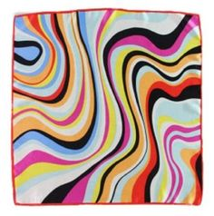 Grace Scarves Swirling Stripes Luxurious Hand Made Small Square Charmeuse Silk Scarf Pink Grace Scarves. $16.99