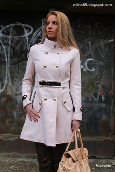 Double Breasted Banded Collar Belt Woolen Coat - Sheinside.com