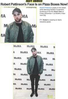 "Alpha Industries' MA-1 Flight Jacket in Sage was featured on Robert Pattinson in the Just Jared post titled ""Robert Pattinson's Face Is on Pizza Boxes Now."" The post is red carpet style coverage from MoMA's Contenders Screening of his new critically acclaimed movie Good TIme."