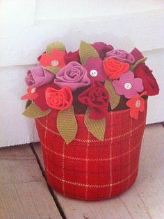 spring summer rose tulip daisy handmade felt flower pot arrangement door prop shelf sitter