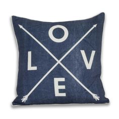 Love Arrow Pillow - Blue Denim - Bed L is for the way you look at me! This LOVE pillow has a certain British aesthetic and is simple enough to transition into any dorm or apartment style!