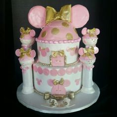 Minnie Mouse Pink and Gold Cake