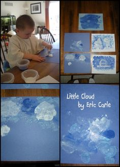 "Another Eric-Carle-inspired messy craft from Gummylump: use cotton balls and paint to make your own ""Little Cloud"" pictures! Pinned by SPD Blogger Network. For more sensory-related pins, see http://pinterst.com/spdbn"
