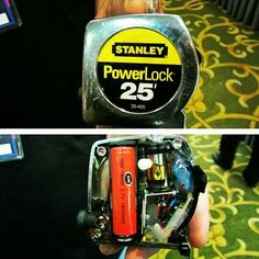 """Tape Measure Mod: Never thought of using one as a stash, but it might make a decent one. """"Somebody"""" checks out your toolbox/belt and it looks like a normal tape measure...and moves on."""