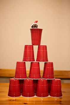 Easy solo cup pyramid. Elf on the shelf. Photo by J Dolo Photography