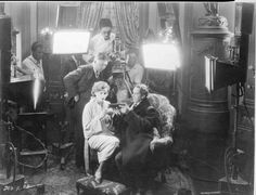 Clarence Brown and crew filming scene with Greta Garbo as Felicitas and Lars Hanson as Ulrich von Eltz.