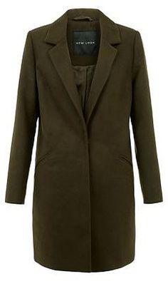 Womens dark khaki coat from New Look - £29.99 at ClothingByColour.com