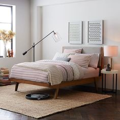 west elm queen bed frame modern bed linen weave special west elm queen bed frame and headboard West Elm Bedding, Linen Bedding, Bedding Sets, Gray Bedding, Rustic Bedding, Bed Linens, Mid Century Bed, Mid Century Modern Bedroom, Modern Bed Linen