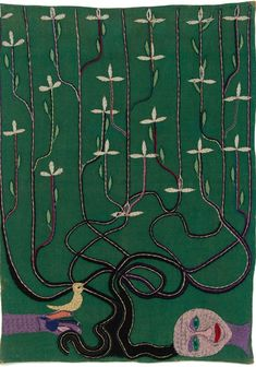 "arsvitaest: "" Violeta Parra, Árbol de la Vida (Tree of Life), 1963 dyed burlap embroidered with wool yarn "" Textile Texture, Textile Fiber Art, Textile Artists, Fibre Art, Surreal Tattoo, Textiles, Quilt Stitching, Quilting, Crewel Embroidery"