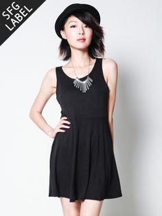 RONDA Cutout Back Skater Dress (Black)