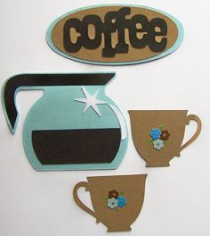 Die Cut Words Coffee Pot Coffee Cup Tag Card Toppers by Paperquick, $1.75