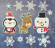 Cute Animals Winter Christmas Deer Penguin Snowman Paper Scrapbook Embellishment