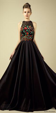 fadwa baalbaki spring 2017 couture sleeveless high nek embroidered bodice a line black dress (10) mv -- Fadwa Baalbaki Spring 2017 Couture Dresses