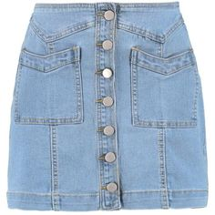 Boohoo Julie Double Pocket Button Through Denim Skirt | Boohoo ($19) ❤ liked on Polyvore featuring skirts, high-waisted skirts, high waisted skirts, ripped denim skirt, straight skirt and distressed denim skirt