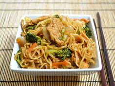 Chicken Yakisoba •½ head green cabbage •1 medium yellow onion  •2 medium carrots  •1 small crown broccoli •2 inches fresh ginger•1 large chicken breast  •2 TB vegetable oil •2 (3 oz.) packages ramen noodles •seasoning packets discarded•1tsp sesame oil (optional)•¼ cup soy sauce•¼ cup worcestershire sauce•2 Tbsp ketchup •(up to) 1TB sriracha hot sauce •1TB sugar