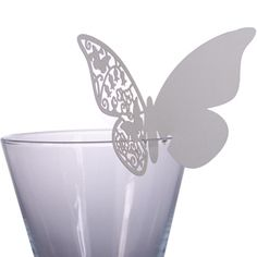 10 Beautiful Butterfly Wine Place Cards Ivory