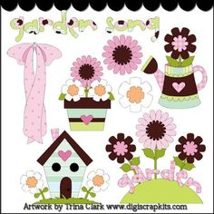 Garden Song 2 Clip Art : Digital Scrapbook Kits, Cute Clip Art, Cutting Files, Trina Clark, Instant downloads, commercial use allowed, great prices.