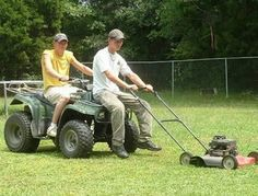 Listen here, lazy, all that effort put into not having to push a mower...what happens when you hit a corner or a turn?