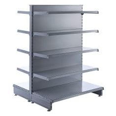 Silver Retail Shelving Gondola Unit - H1400 mm x W1250 mm, 8 x 370 mm Shelves