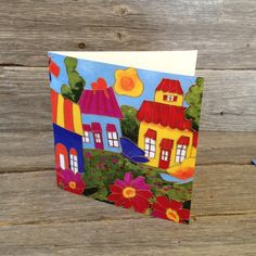 Carte de souhait carré • Maisons passion couleurs - reproductions des toiles d'isabelle Malo Isabelle, Reproduction, Passion, Canvases, Paper Mill, Homes, Colors