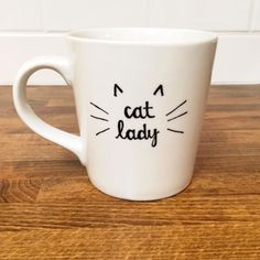 cat lady coffee mug // fun coffee mug gift // gift for friend // cat lover // tea mug // funny mugs // unique gifts by hellolovehello on Etsy https://www.etsy.com/listing/219658847/cat-lady-coffee-mug-fun-coffee-mug-gift