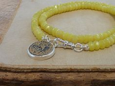 Lemon Jade necklace  with an Antique Roman coin by anakim on Etsy, $178.00
