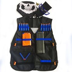 Cosoro Kids Camouflage Tactical Vest Jacket Kit (with 50pcs Blue Foam Darts + Protective Goggles Glasses + Seamless Skull Face Mask + 2 Pcs 5-dart Quick Reload Clip) for Nerf Toy Gun N-strike Elite Series