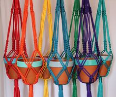 Macramé Plant Hangers in assorted bright by SunshineDreamingLove, $48.00