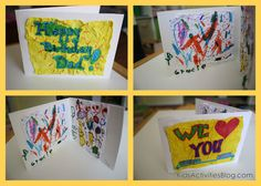 Homemade Cards- To make a unique homemade card from crumple art, start with a piece of card stock.  Fold it in half to make the base of your card. Get crumple art instructions on the Kids Activities Blog.