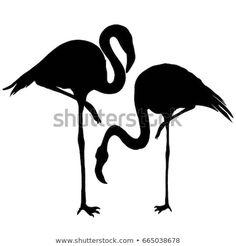 Vector Preto E Branco Flamingo silhouette, vector, illustration Vogel Silhouette, Silhouette Vector, Bird Silhouette Art, Coconut Tree Drawing, Flamingo Illustration, Bird Template, Cut Out Art, Paisley Art, Flora Und Fauna
