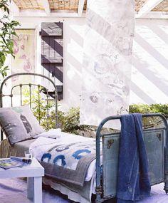 vintage beds outside