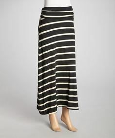 Another great find on #zulily! Black & White Wide Stripe Maxi Skirt #zulilyfinds