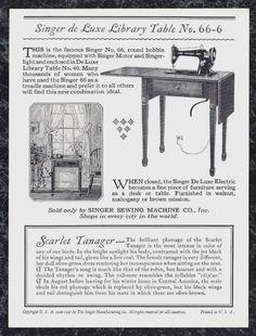 1927 Singer Sewing Machine Scarlet Tanager Trade Card Egg John Livzey Ridgway | eBay