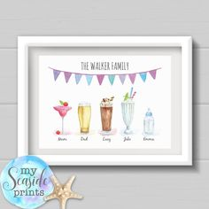 This Personalised Family Drinks Print includes all of the family's names with a different drink for each person. Family surname or 'our family' at the top Personalised Family Print, Personalized Mother's Day Gifts, Personalised Frames, Mummy Crafts, Box Frame Art, Family Wall Decor, Wedding Prints, Rainbow Baby, Gifts For Family