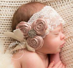 Baby Headband Baby Headbands Christening Headband by ThinkPinkBows - lace things Baby Headband Tutorial, Headband Pattern, Diy Headband, Rhinestone Headband, Shabby Chic Headbands, Flower Girl Headbands, Lace Headbands, Newborn Bows, Newborn Headbands